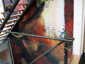 Fotowand textielframe akoestisch trappenhuis